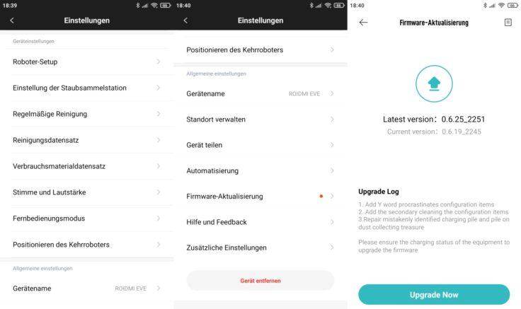Roidmi EVE Plus Saugroboter Xiaomi Home App Einstellungen Firmware-Updates