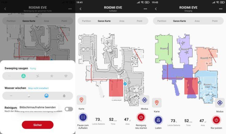 Roidmi EVE Plus Saugroboter Xiaomi Home App Mapping vollstaendig Reinigung abgeschlossen