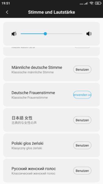 Roidmi EVE Plus Saugroboter Xiaomi Home App Lautstärke Sprache Stimme des Roboters