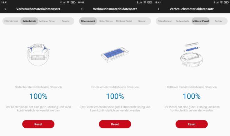 Roidmi EVE Plus Saugroboter Xiaomi Home App Zustand Gebrauchsmaterialien Verschleiss