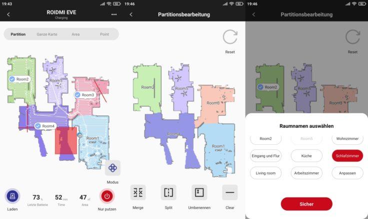 Roidmi EVE Plus Saugroboter Xiaomi Home App selektive Raumeinteilung Raeume