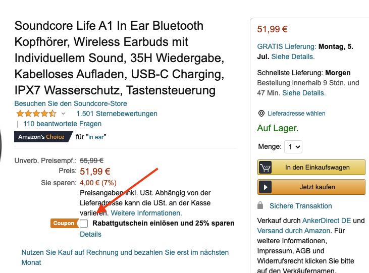 Soundcore Life A1 Kopfhoerer Gutschein Amazon