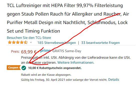 TCL_Breeva_A1_Luftreiniger_Amazon_Gutschein