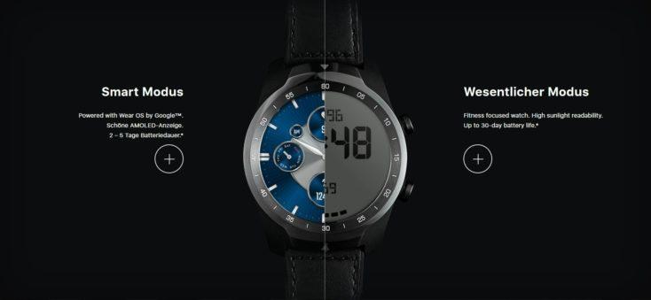 TicWatch Pro S smartwatch Displays