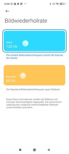 Xiaomi Redmi Note 10 Pro 120 Hz Einstellungen