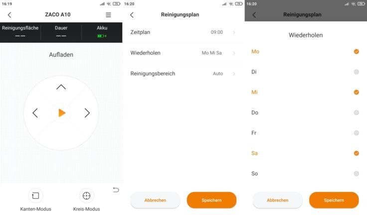 ZACO A10 Saugroboter App Einplanen von Arbeitszeiten
