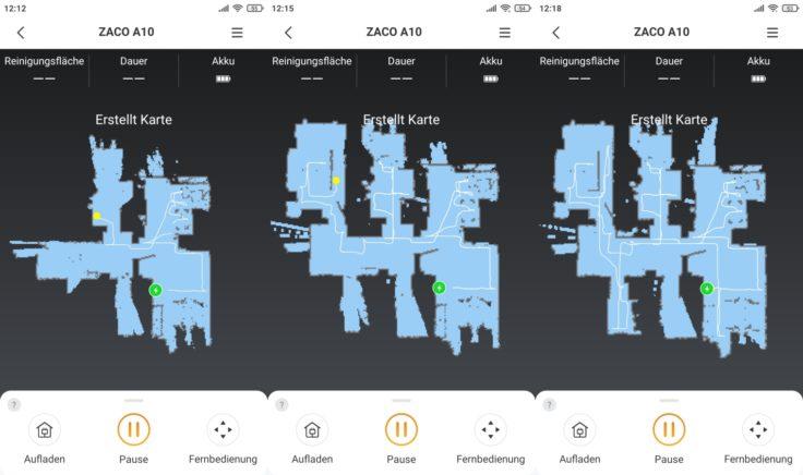 ZACO A10 Saugroboter App Mapping Kartenerstellung Modus
