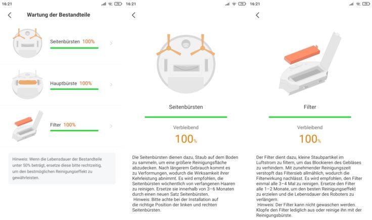 ZACO A10 Saugroboter App Zustand Verbrauchsmaterial Verschleiss Einzelteile
