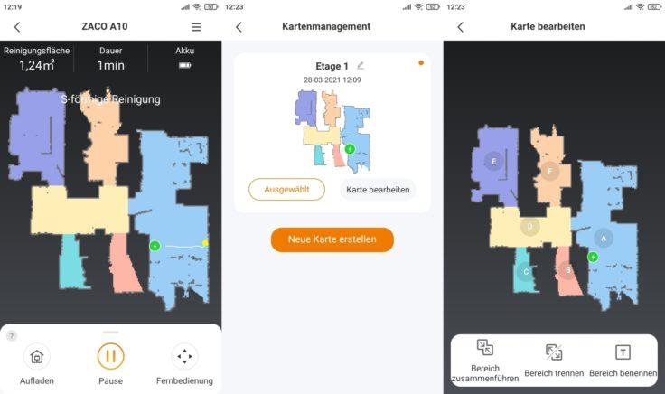 ZACO A10 Saugroboter App selektive Raumeinteilung