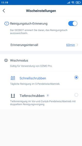 Ecovacs Deebot T9 Saugroboter App Wischfunktion Einstellungen