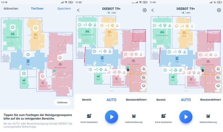 Ecovacs Deebot T9 Saugroboter App selektive Raumeinteilung Saugkraft Wischintensitaet pro Raum vorgeben