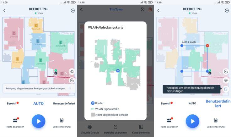 Ecovacs DEEBOT T9+ Saugroboter Home App selektive Raumeinteilung und WLAN-Abdeckung