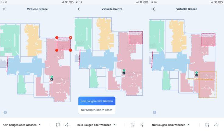 Ecovacs Deebot T9 Saugroboter App virtuelle Waende No-Go-Zonen Nicht-Wisch-Zonen