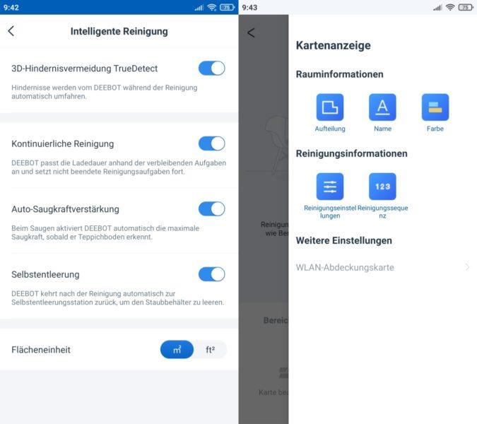 Ecovacs DEEBOT T9+ Saugroboter Home App intelligente Reinigung Einstellungen