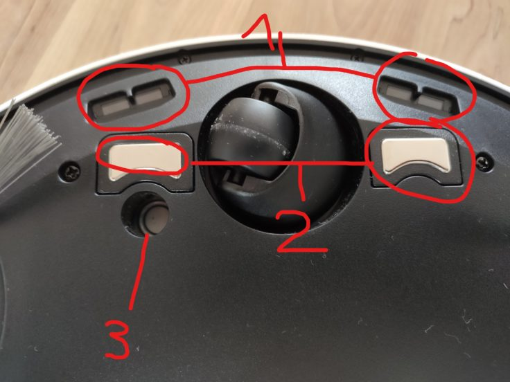 Ecovacs DEEBOT T9+ Saugroboter Unterseite Sensorik beschriftet