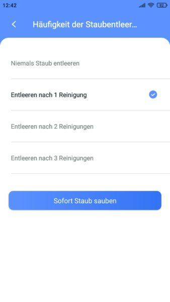 Lydsto R1 Saugroboter App Absaugstation einstellen