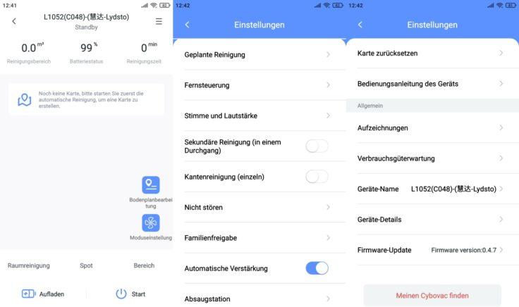 Lydsto R1 Saugroboter App Einstellungen