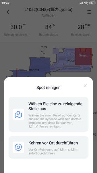 Lydsto R1 Saugroboter App Spot-Reinigung