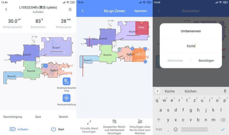 Lydsto R1 Saugroboter App selektive Raumeinteilung Raeume einteilen