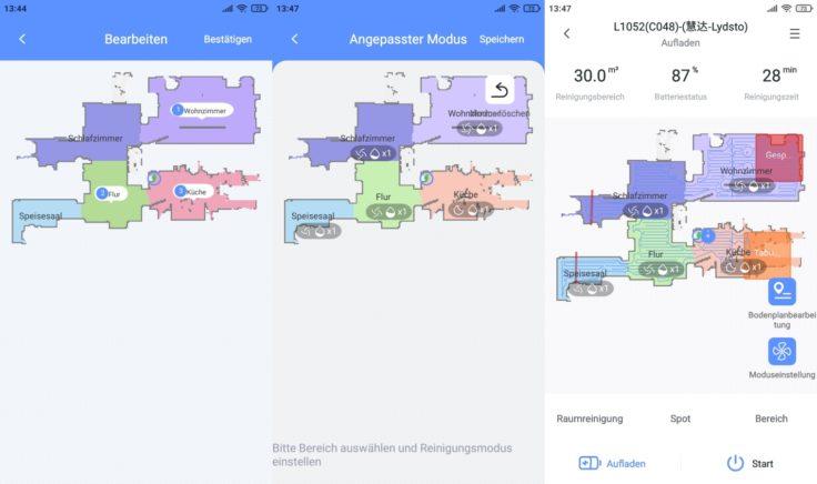 Lydsto R1 Saugroboter App selektive Raumeinteilung Saugmodi Wischmodi einstellen