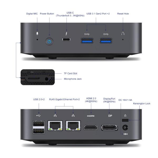 MINISFORUM X35G Mini-PC Anschluesse