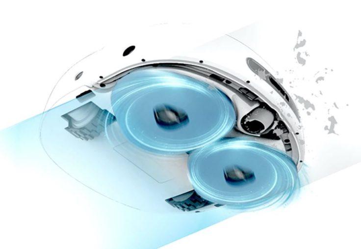 Narwal J1 Pro selbstreinigender Saug-Wischroboter Unterseite mit zwei rotierenden Wischmöppen