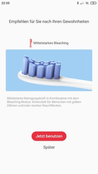 Oclean X Pro Elite elektrische smarte Zahnbürste Empfehlung Putzmodus