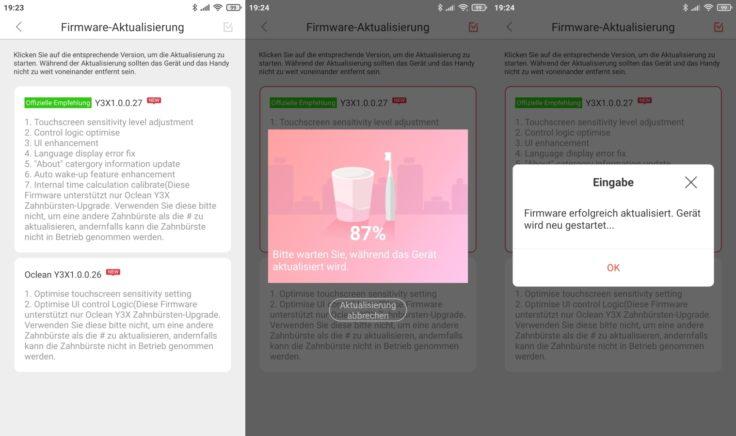 Oclean X Pro Elite elektrische smarte Zahnbürste App Firmware-Updates