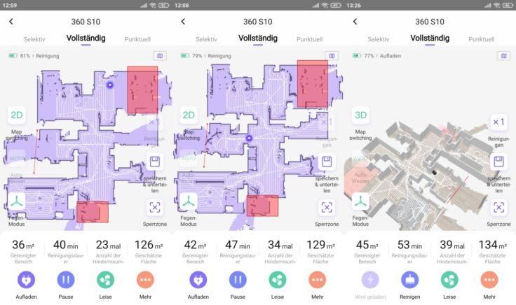 360 S10 Saugroboter App Beginn Mapping