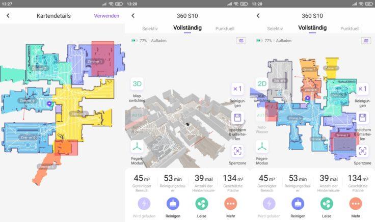 Qihoo 360 S10 Saugroboter App Mapping finale Karte selektive Raumeinteilung
