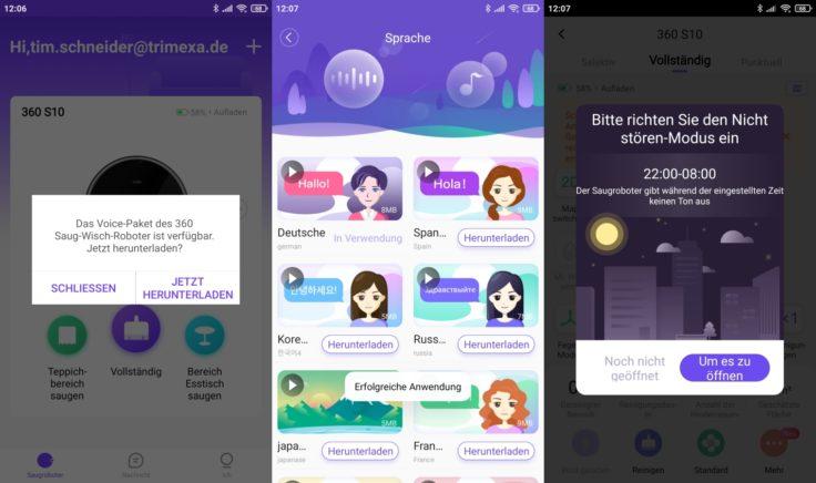 Qihoo 360 S10 Saugroboter App Sprachpaket Deutsch