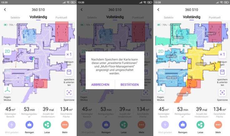 Qihoo 360 S10 Saugroboter App selektive Raumeinteilung Etagenspeicherung