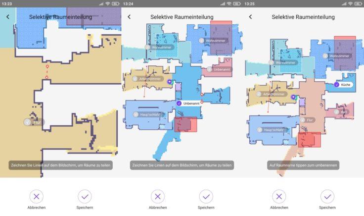 Qihoo 360 S10 Saugroboter App selektive Raumeinteilung Raeume trennen verbinden