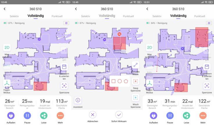 360 S10 Saugroboter Mapping No-Go-Zonen virtuelle Sperrzonen Wände