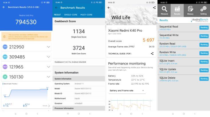 Redmi K40 Pro Benchmarks