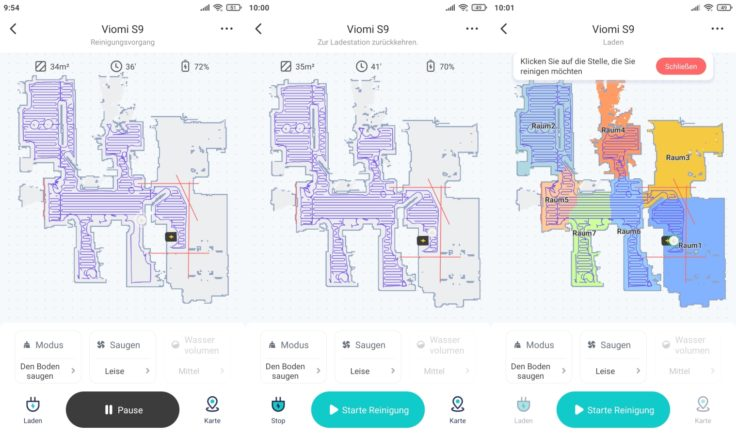 Viomi S9 Saugroboter Xiaomi Home App Mapping vollstaendig selektive Raumeinteilung