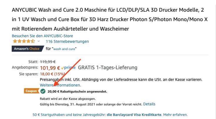 Anycubic Wash und Curing Machine Gutschein Amazon