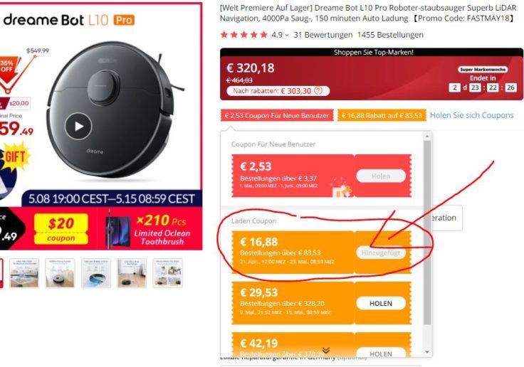 Dreame Bot L10 Pro Saugroboter AliExpress Gutschein Bestellung