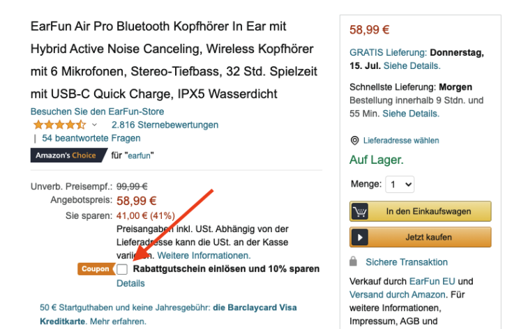 Earfun Air Pro Amazon Gutschein