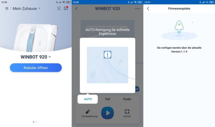Ecovacs Winbot 920 Fensterputzroboter App Interface Firmware-Updates