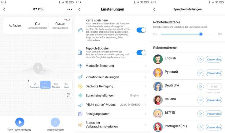 Midea M7 Pro Saugroboter MSmartLife App Interface Einstellungen Sprachpakete