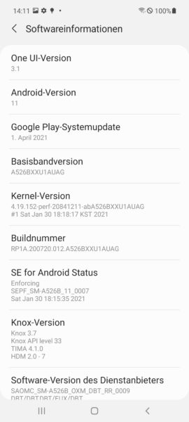 Samsung Galaxy A52 5G OneUI Infos