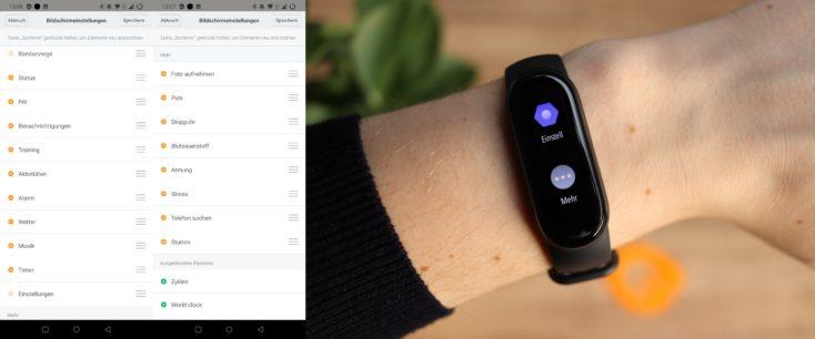 Xiaomi Mi Band 6 App Reihenfolge Mehr