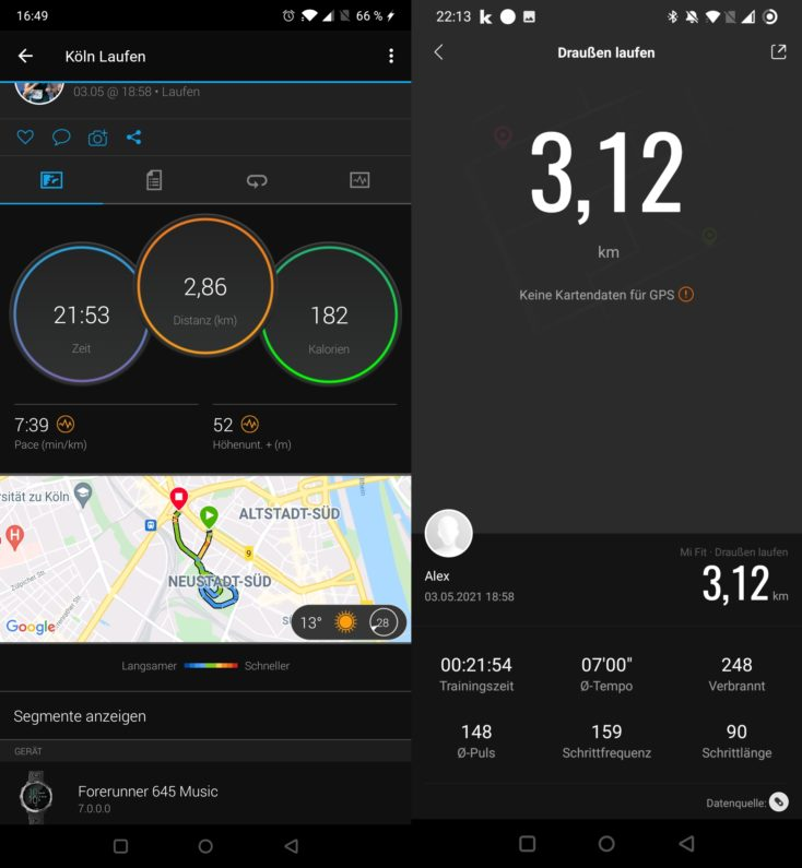 Xiaomi Mi Band 6 Laufen ohne GPS