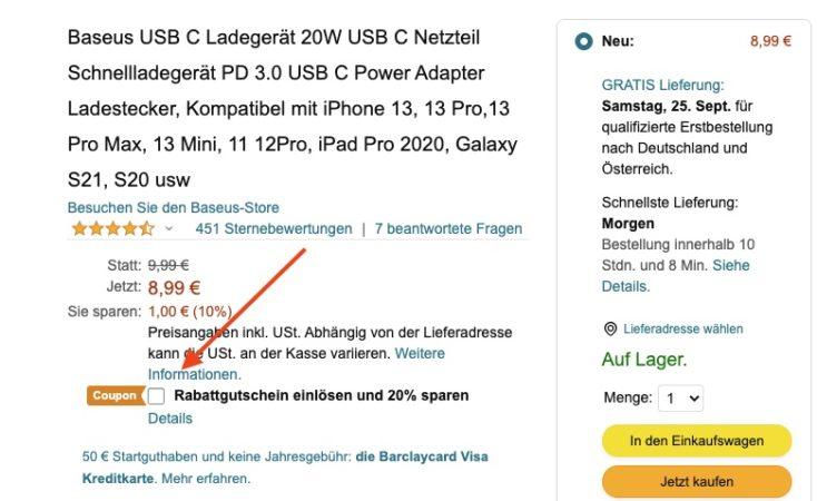 Baseus 20W USB C Charger Amazon Rabatt