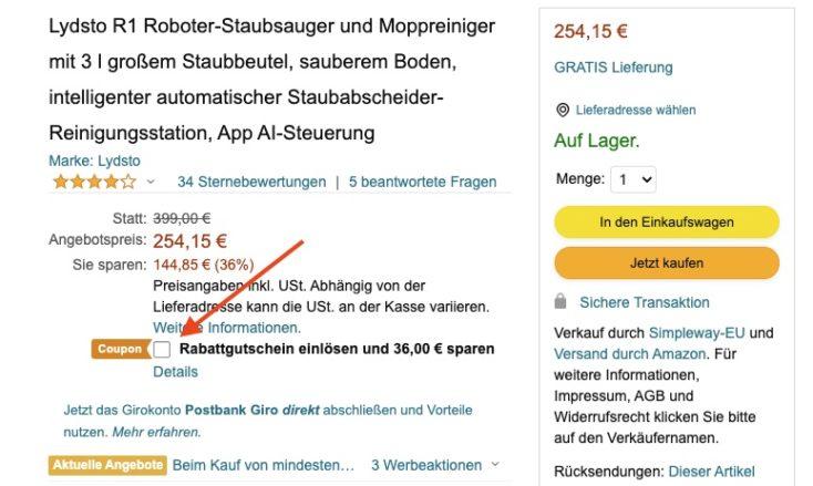 Lydsto R1 Saugroboter Gutschein Amazon
