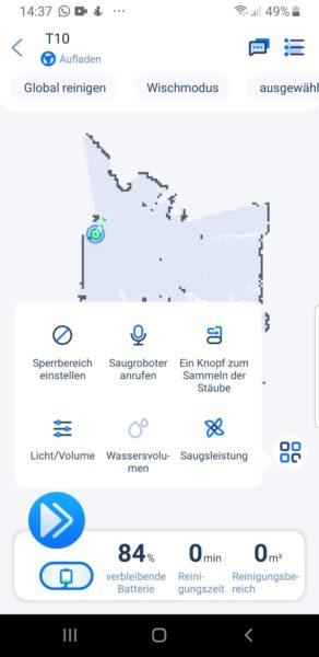 Ultenic T10 Saugroboter App Einstellungen