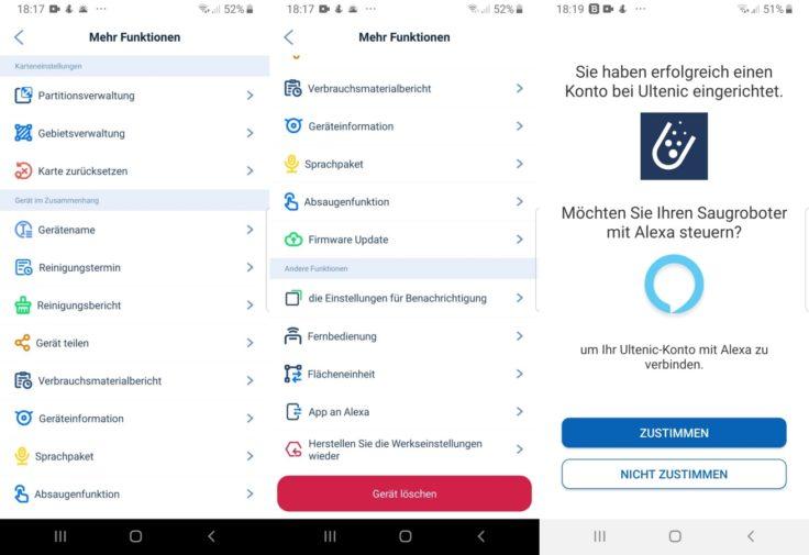 Ultenic T10 Saugroboter App Einstellungsmoeglichkeiten