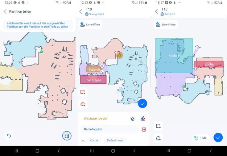 Ultenic T10 Saugroboter App Raumeinteilung