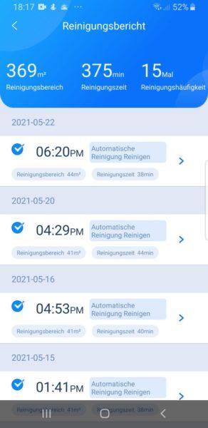 Ultenic T10 Saugroboter App Reinigungsbericht